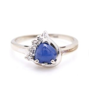 10K Synthetic Star Sapphire and Diamond Ring